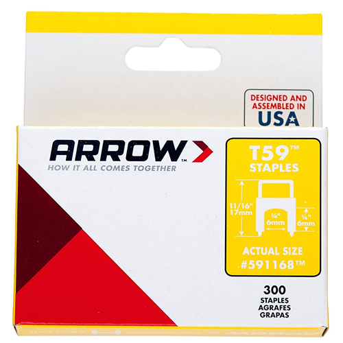 "arrow-fastener-591168-pack-of-300-1-4""-x-1-4""-clear-t59-insulated-staples"