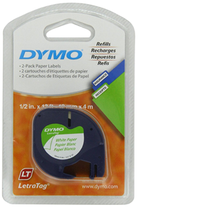dymo-10697-self-adhesive-paper-tape-for-letratag-label-makers-1-2-inch-x-13ft-white-w-black-lettering