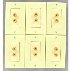 -6-single-speaker-wall-plates-with-gold-plated-posts-ivory