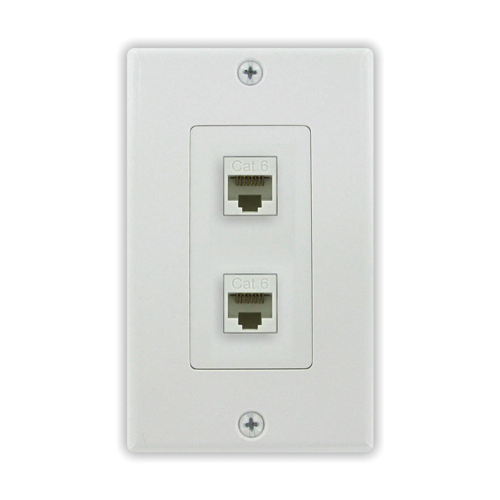 Cat6 2 Port Female to Female Wall Plate in White | HNS Tools