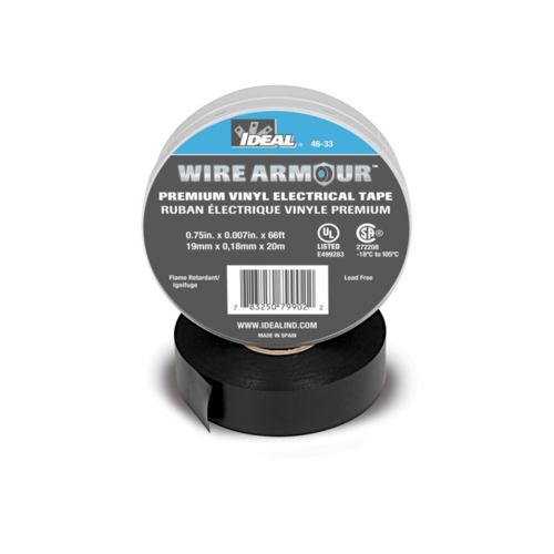 Ideal 46-33 Black 7 Mil Wire Armour Professional Vinyl Electrical Tape