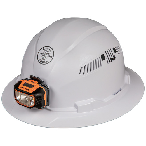 Klein Tools 60407 Vented Full Brim Hard Hat With Headlamp
