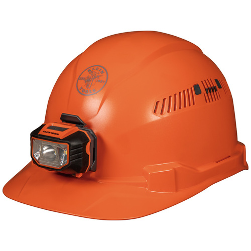 Klein Tools 60901 Vented Orange Cap Style Hard Hat With Headlamp