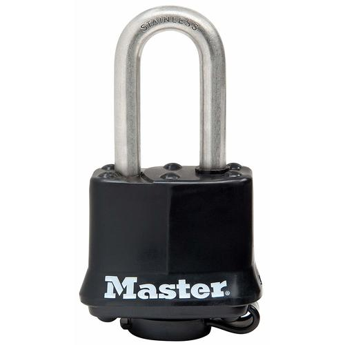 "Master Lock 311SSKADLF Black 1-9/16"" Covered Stainless Steel Pin Tumbler Padlock With 1-1/2"" Shackle"