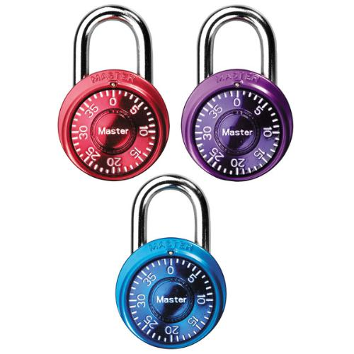 Master Lock 1533TRI Mini Combination Locks in Blue, Purple and Pink 3-Pack