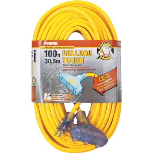 lt611835-bulldog-tough-contractor-extension-cords---100ft---12-3-sjtow-yellow-triple-tap-w--primelight-indicator-light